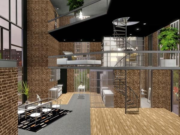 The Sims Resource - TSR Metro Modern 4 story loft home by chemy ...