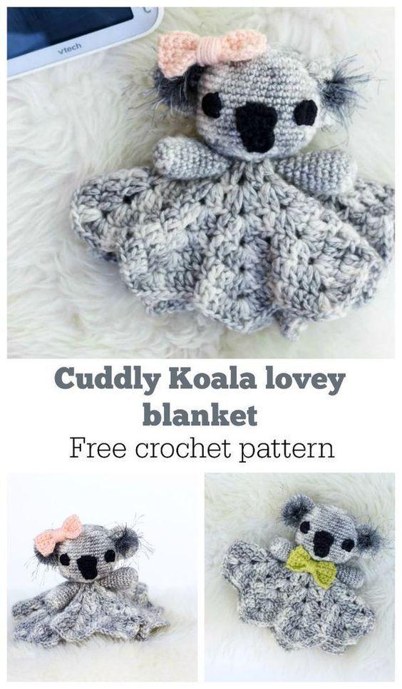 Koala Baby Lovey Crochet Pattern - Crochet Baby Blanket | Manta ...
