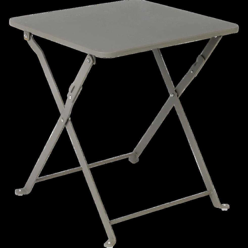 Table basse de jardin pliante taupe en acier-CERVIONE | resto en ...