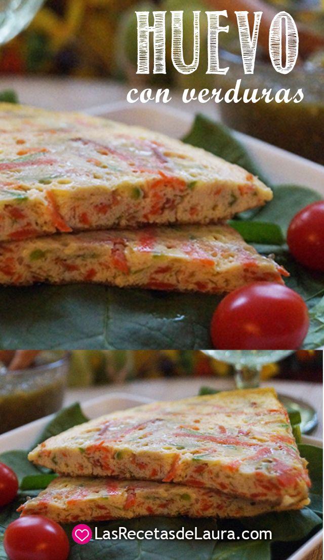 Receta de huevo con verduras sin grasas ni aceites Plato rapido y facil de preparar