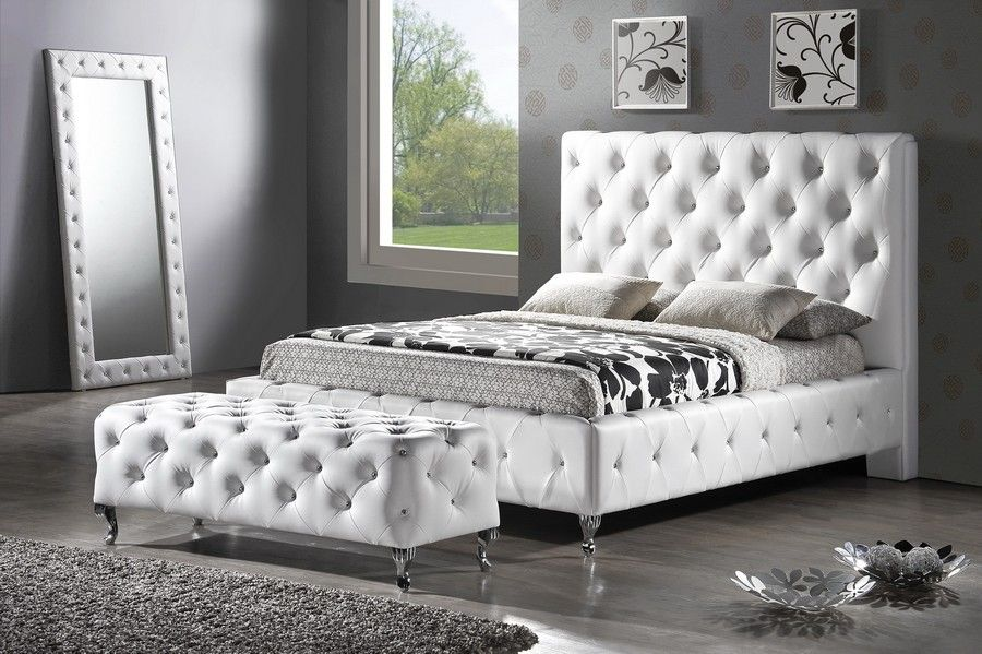 Baxton Studio Bbt6220 Stella Crystal Tufted White Modern Bed With Upholstered Headboard Queen Upholstered Platform Bed Queen Upholstered Headboard Modern Bed