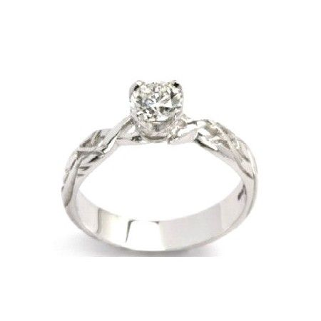 Diamond Irish Celtic Engagement Ring in 18K White Gold Wedding