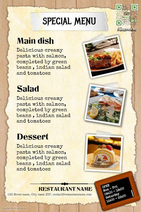 Restaurant menu template - Vintage design http://www.postermywall ...