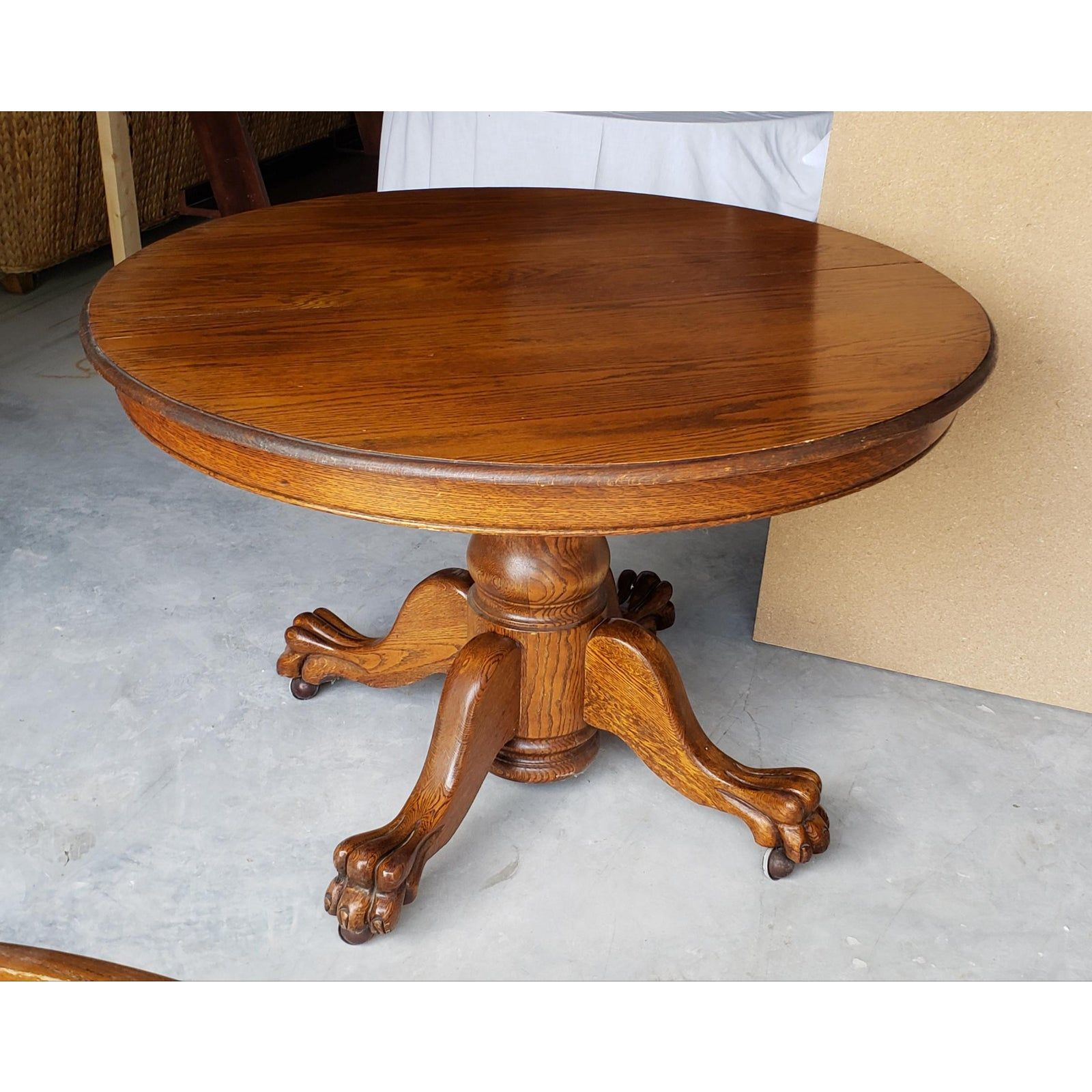 1930s Mid Century Modern Solid Oak Claw Foot Table On Casters In 2020 Clawfoot Solid Oak Table