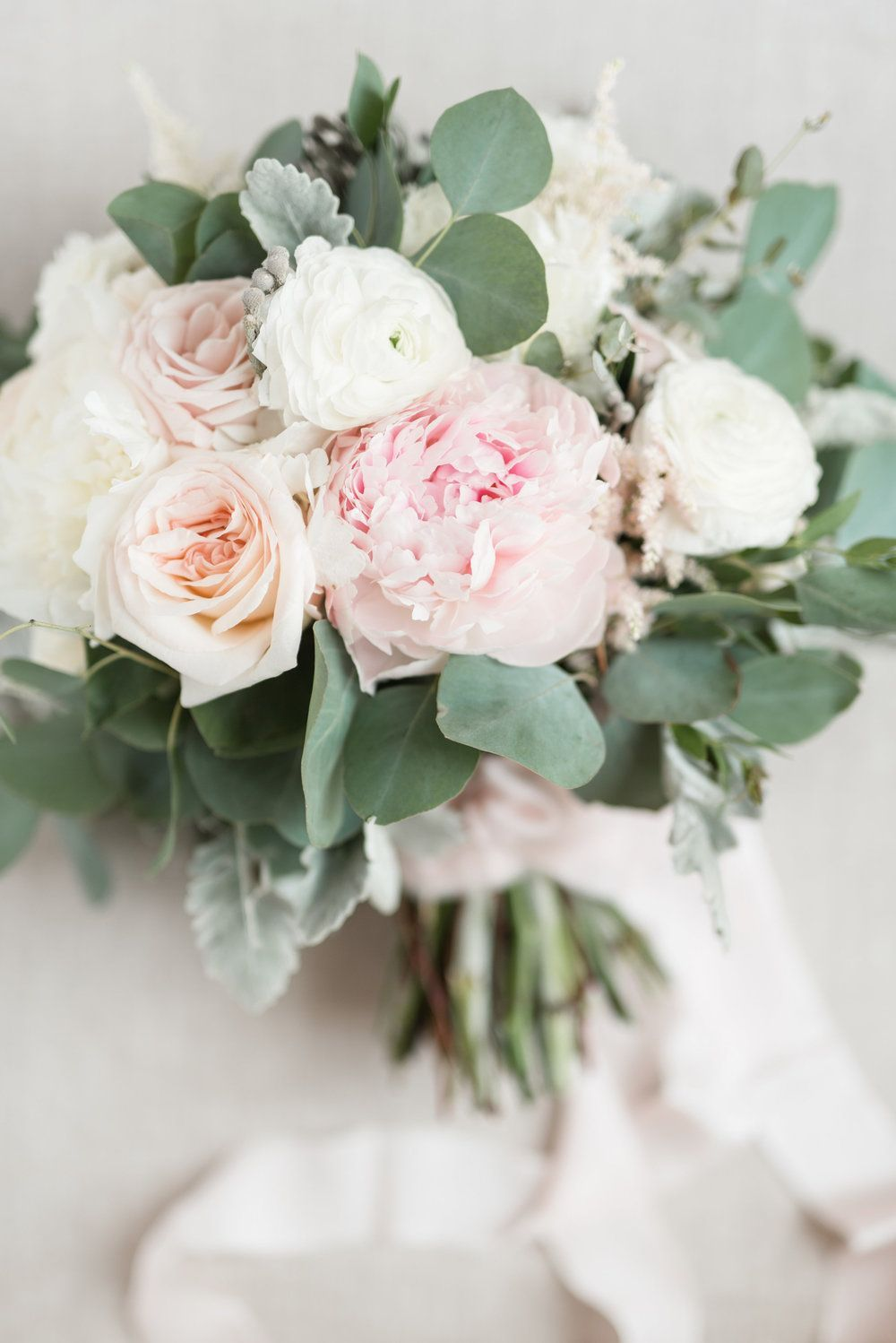 Audrey Rose Photography with Courtney Inghram Virginia Wedding Floral Designer at the Historic Post Office Wedding with blush and white bouquet with peony, ranunculus, eucalyptus greenery, blush silk ribbon streamers, dusty miller. Large fluffy bridal bouquet for blush and white Virginia wedding with floral design by Courtney Inghram. Peony bouquet. Peony bride bouquet. Peony wedding bouquet. June summer white and romantic blush wedding. Wedding bouquet with peony and eucalyptus greenery. #bridesmaidbouquets