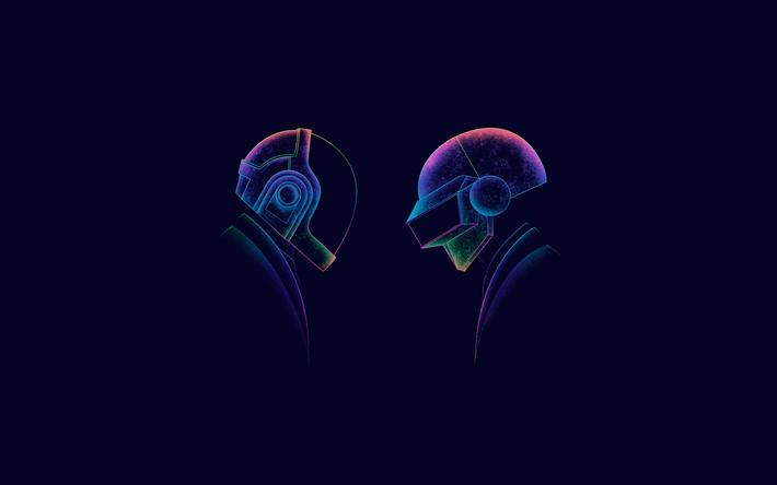 Download wallpapers 4k, Daft Punk, minimal, DJ, art   Daft ...