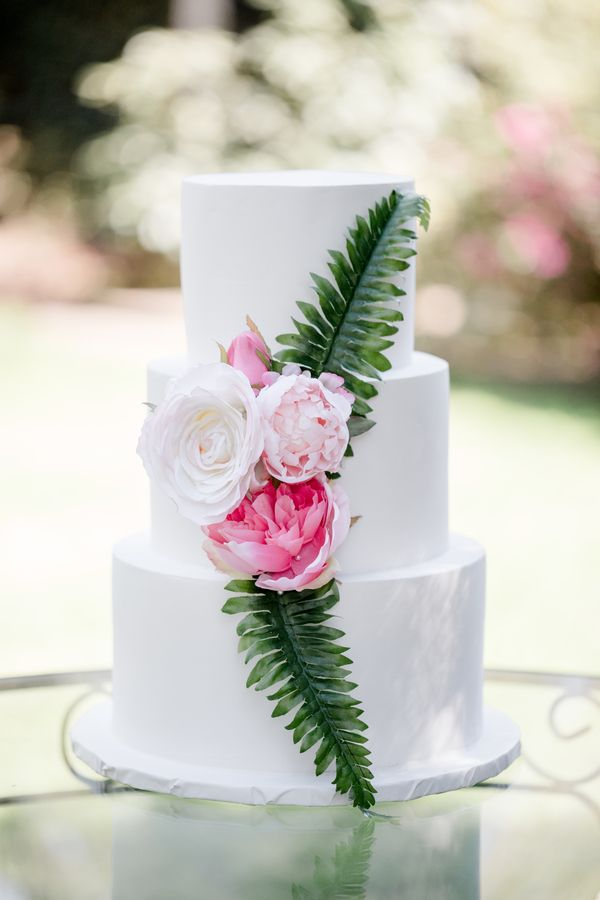 Modern Hawaiian Garden Wedding Inspiration Wedding Cake Ideas