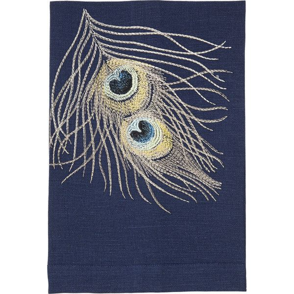 Barneys New York Peacock Hand Towel (120 DKK) ❤ liked on Polyvore featuring home, bed & bath, bath, bath towels, multi, embroidered hand towels, embroidered bath towels, barneys new york, navy blue hand towels and navy bath towels