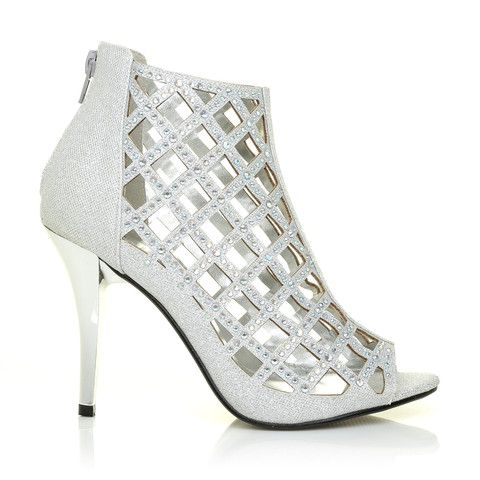 f657a23b3f58 AGRA Silver Mesh Peep Toe Caged Diamante High Heel Ankle Boots – ShuWish UK  - Bring