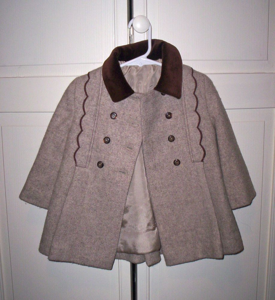 b5e1a53ec793 Vintage 60s Cute Togs New York Tweed Coat with Scallop Trim Girls ...