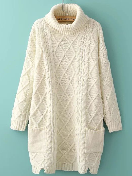 White Turtleneck Side Slit Pocket Cable Knit Sweater Dress | Ropa ...