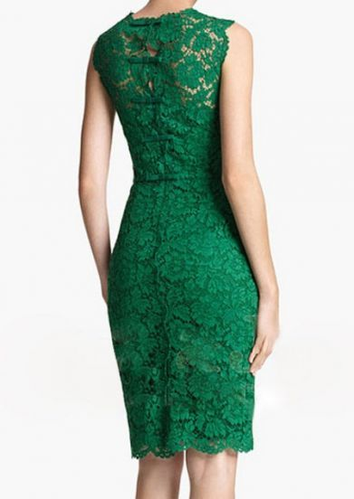 #Green #Round #Neck #Sleeveless #Lace #Dress - Sexy, Classy, Dressy, Lovely!  Perfect to wear to a wedding or party! Just add a cute pair of heels and put your hair up in an updo so you can see the cute little bows on the back - and you will be the talk of the party!