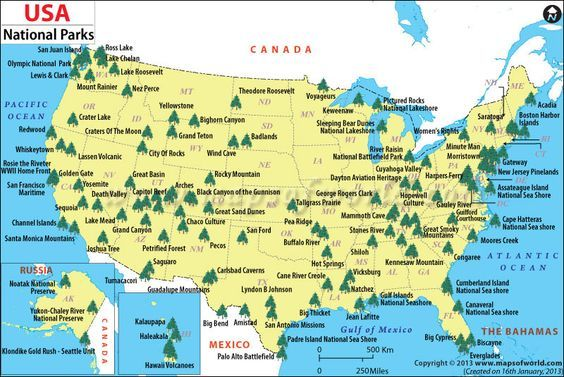 Map Of United States National Parks | Campgrounds | Pinterest ...