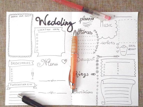 Wedding Planner Journal Ideas Agenda Diary Diy Printable Layout Template Home Organizer