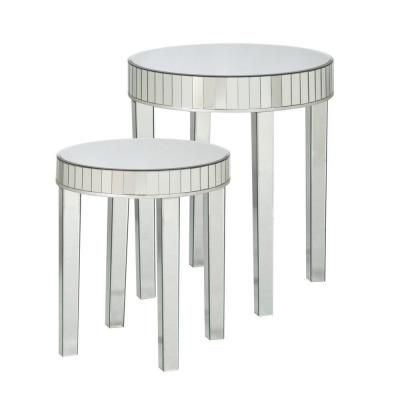 Southern Enterprises Nesting Round Mirrored End Table (Set Of 2) HD140230  At The Home Depot
