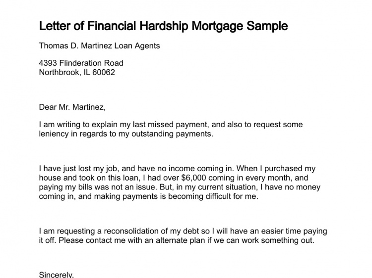 Sample Letter For Financial Hardship For Increase On Mortgage