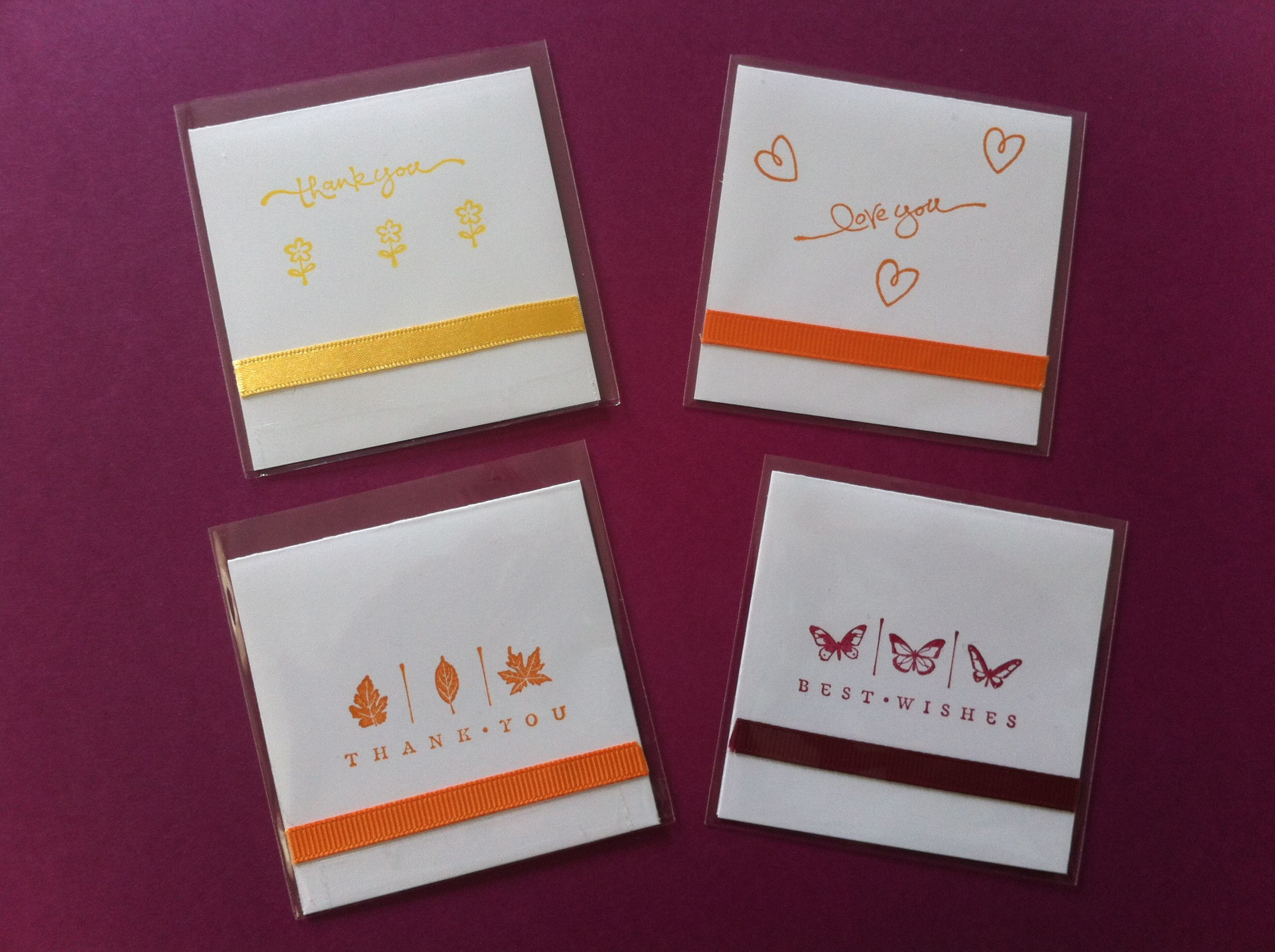 Handmade x cards using stampin up sentiments and itty bitty mini