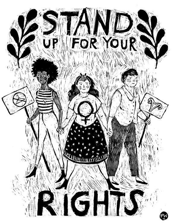 Stand Up For Your Rights Print By Phoebewahl On Etsy 35 00 Feminism Feminist Feminist Art