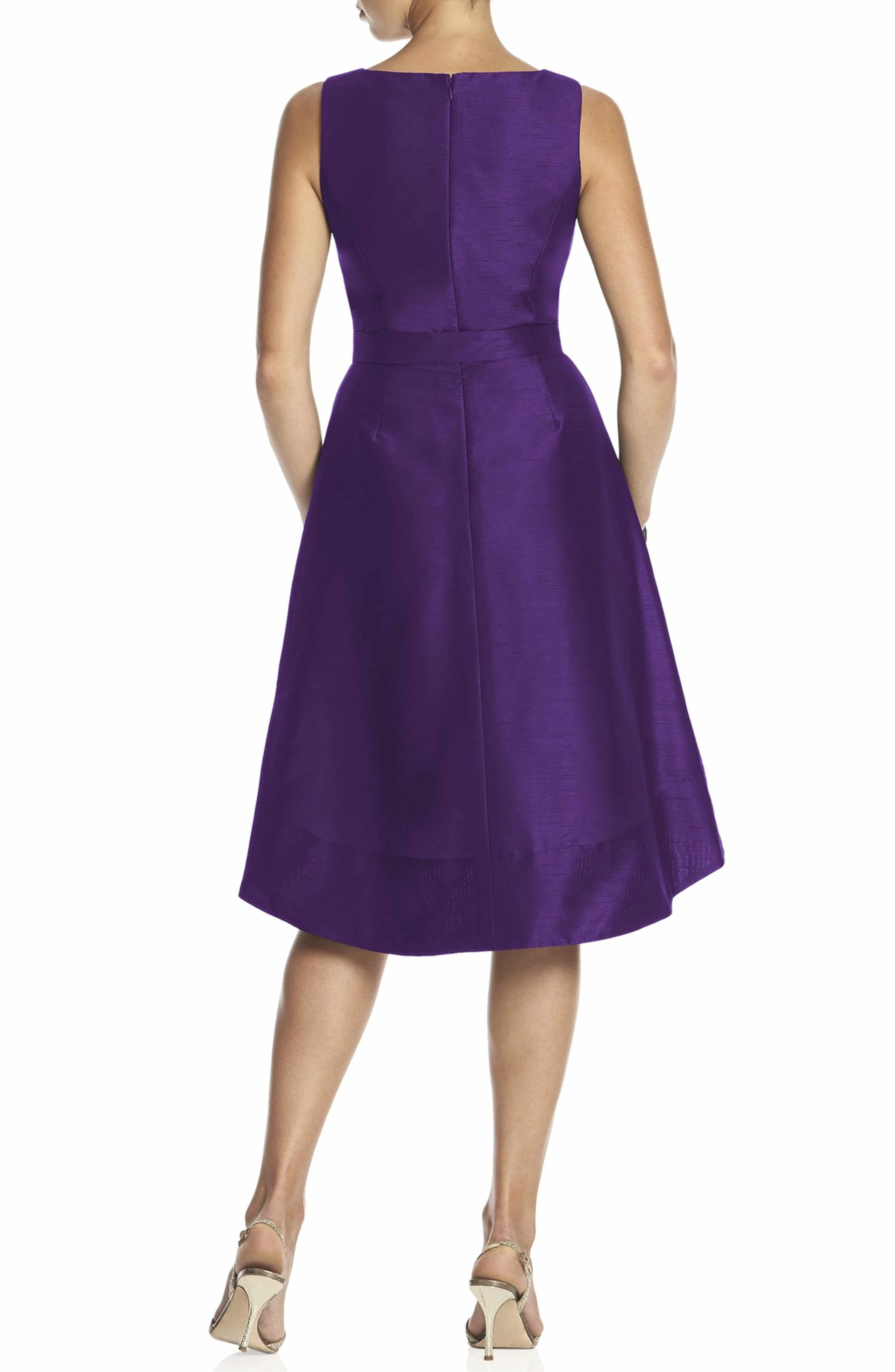 Satin High/Low Fit & Flare Dress | Alfred sung, Fit flare dress and ...