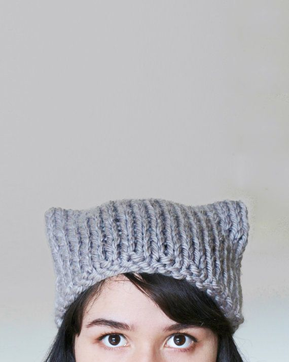 Cat Ear Knit Hat Beanie - Cat Ears Hat - Cat Hat - Winter Animal ...