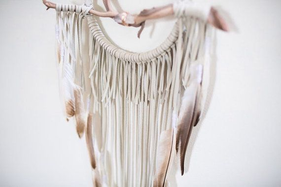 Driftwood Dreamcatcher Dove  6 ivory white leather by BartonHollow