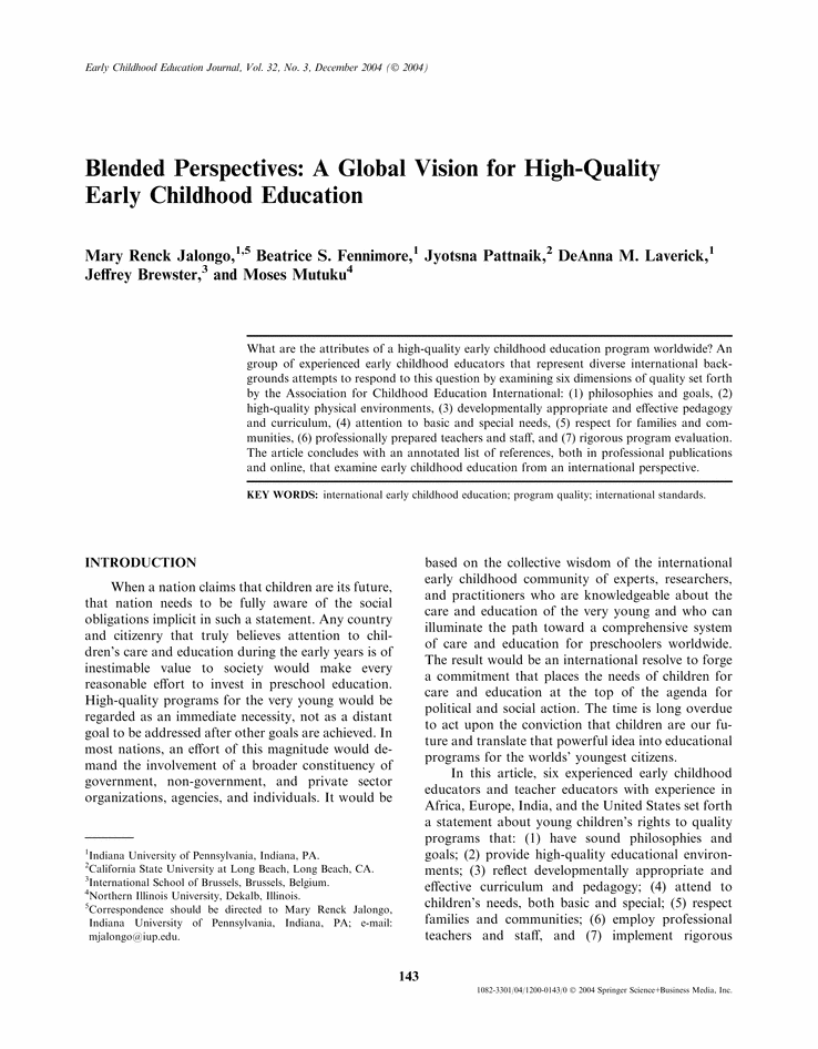 Study High Quality Early Education >> Blended Perspectives A Global Vision For High Quality Early