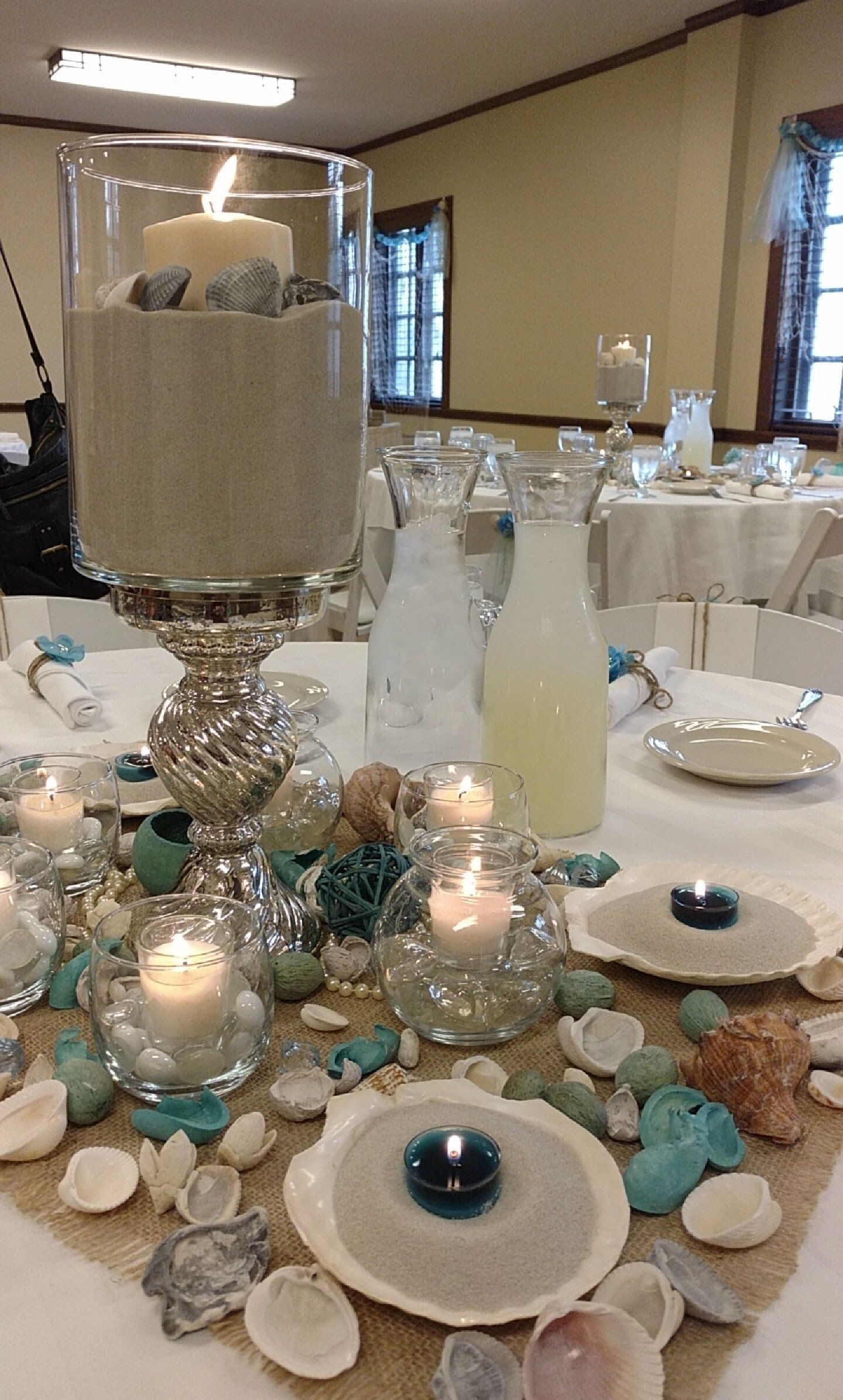 Diy Beach Bridal Shower Centerpieces Tiffany Blue And Sand Theme