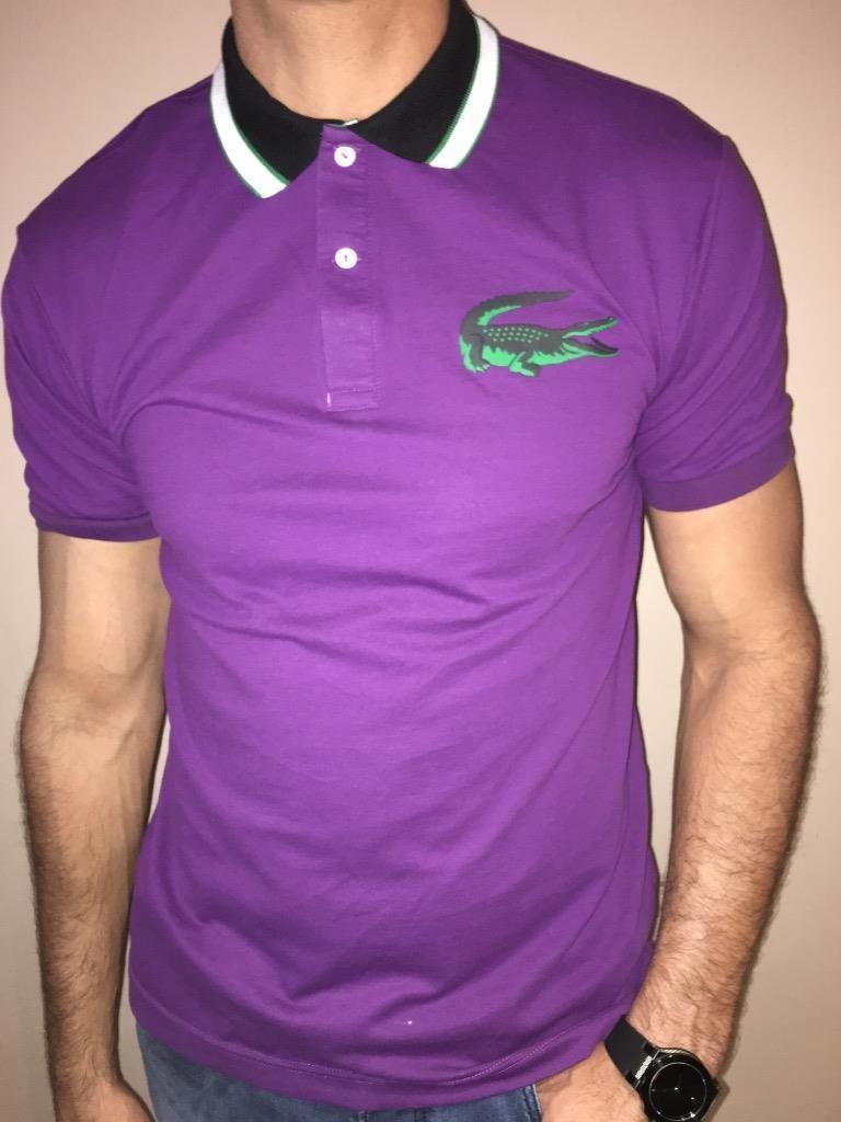 Lacoste Live Slim Fit Pique Polo Shirt Purple Nwt S M L Common