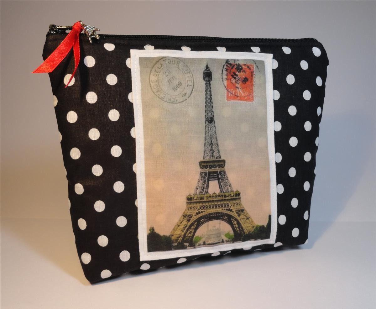 Pochette En Coton Noir A Pois Blancs Applique Transfert Carte Postale Ancienne Tour Eiffel Trousses Par M Tour Eiffel Cartes Postales Anciennes Carte Postale