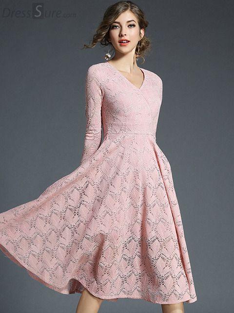 1e6c41de512945b Elegant Pure Color Lace V-Neck 3/4 Sleeve A-Line Dress в 2019 г. | Платья с  кружевом | Dresses, Lace Dress и Sleeves
