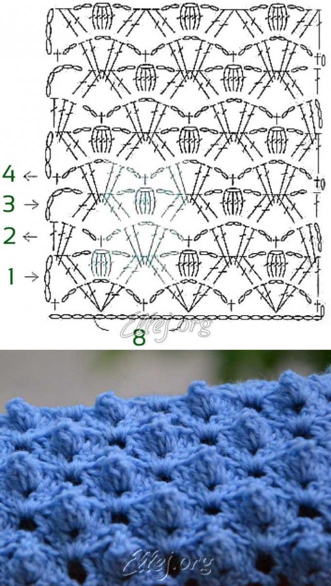 El dibujo en relieve el Respaldo del cocodrilo   Crochet by Ellej ...