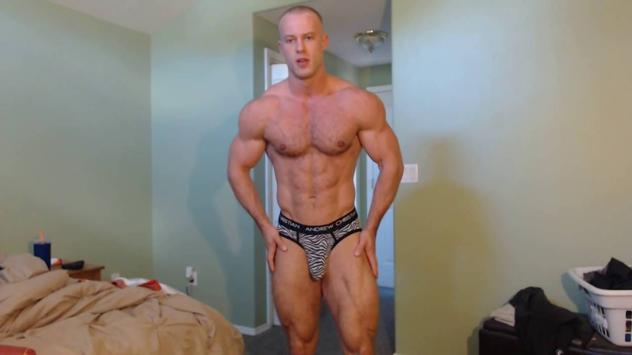 Muscle stud posing & flexing in underwear with huge bulge showing!