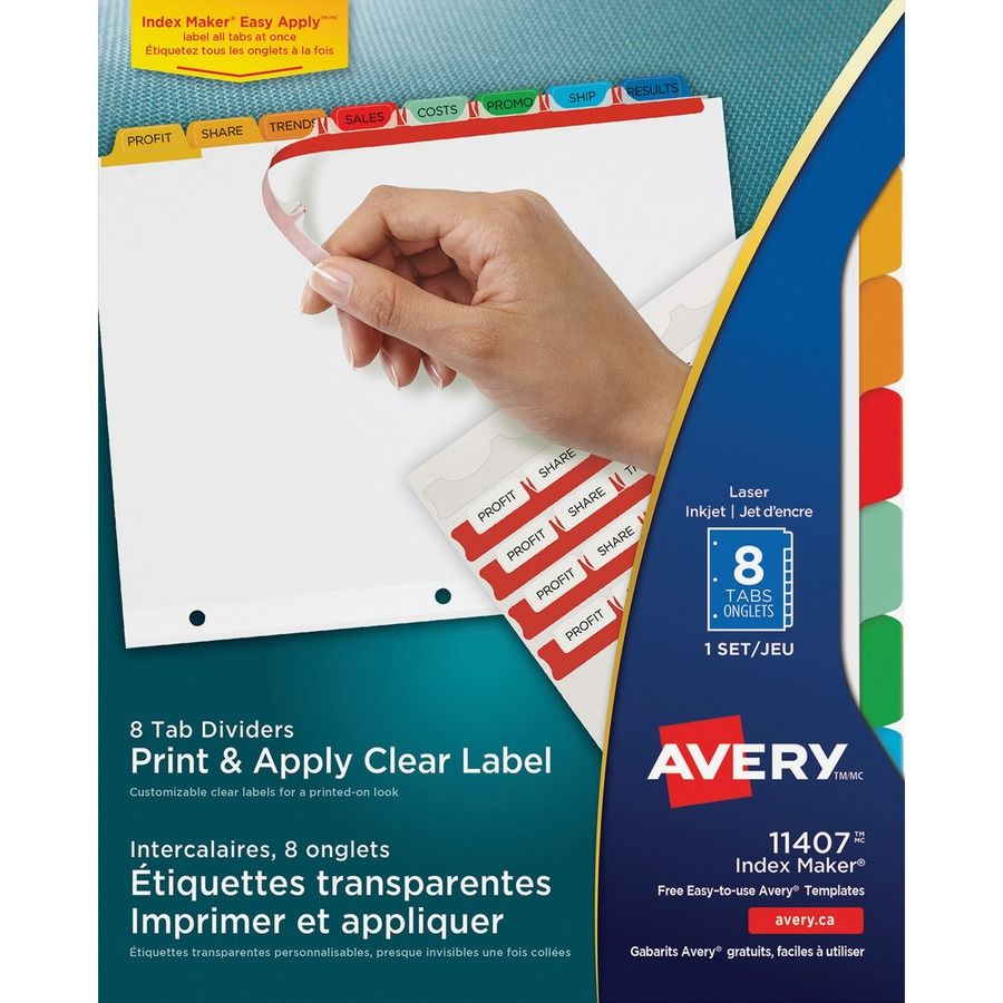 Avery print apply clear label dividers index makerr
