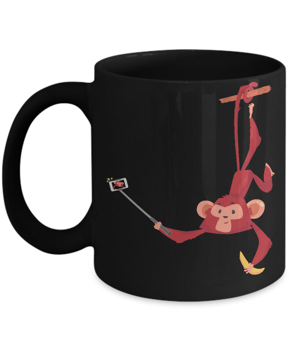 A Cute Monkey Hanging On A Branch Of A Tree Taking A Selfie Mugs Office Coffee Mug Cup