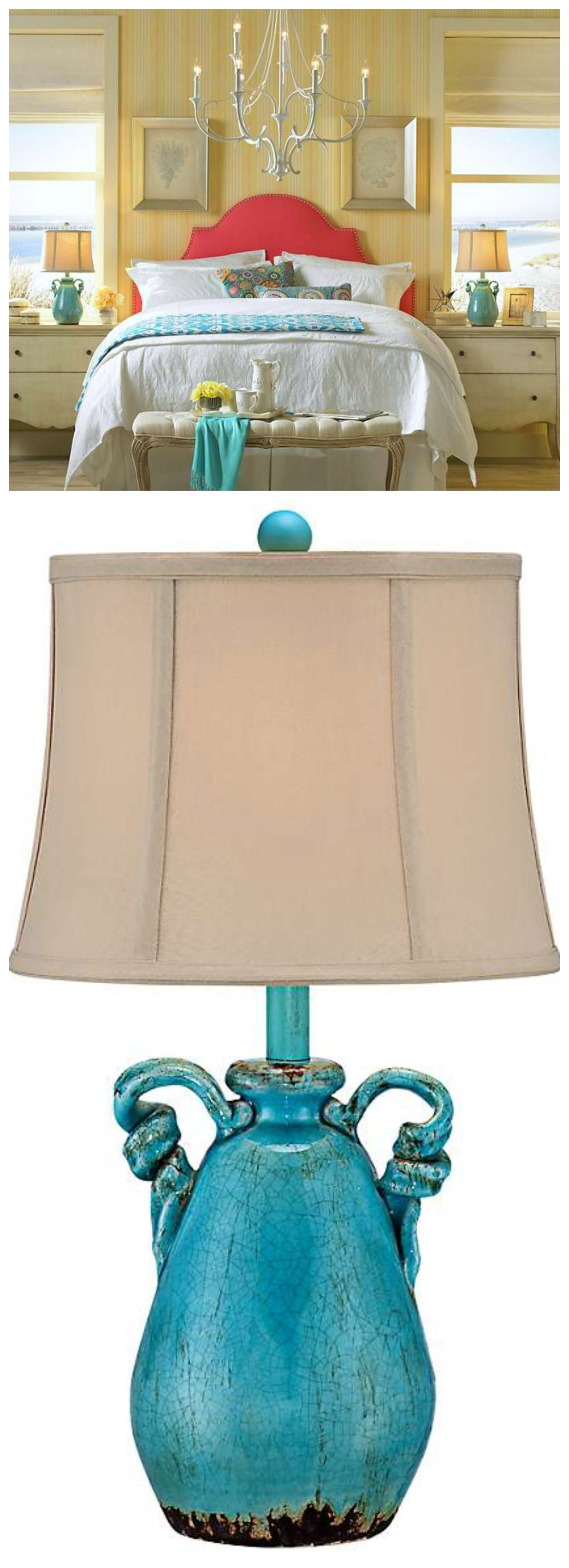 Gorgeous Ceramic Table Lamp In An Eye Catching Turquoise Blue Crackled  Finish, With Rope Design Inspirations