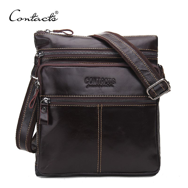 CONTACT S Fashion Genuine Leather Brand Design Men Messenger Bag Cowhide  High Quality Shoulder Bags Travel Men s c17b83bd1ad5e