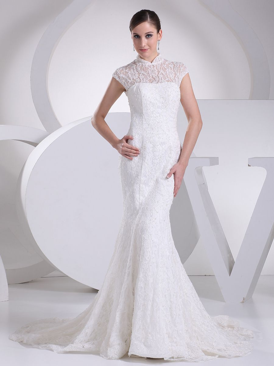 Mermaid lace over satin wedding gown with collar customer rating