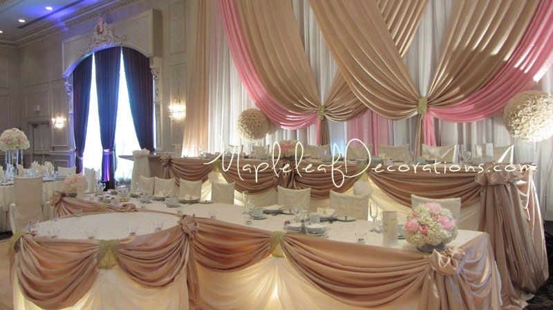pink and gold birthday decorations decorations in colour pink and champagne satin and sheer. Black Bedroom Furniture Sets. Home Design Ideas