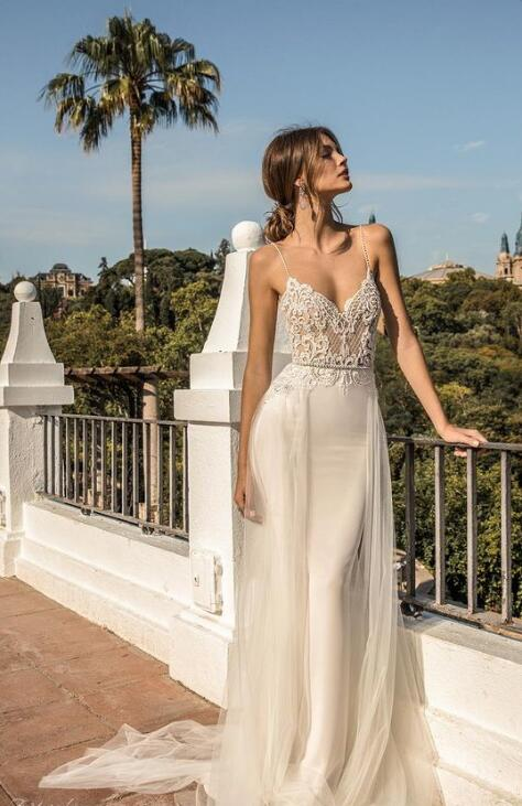 Photo of Spaghetti Straps Lace Wedding Dress,mermaid Long Tulle V-neck Wedding Dress,sweep Train Wedding Dress.W1067