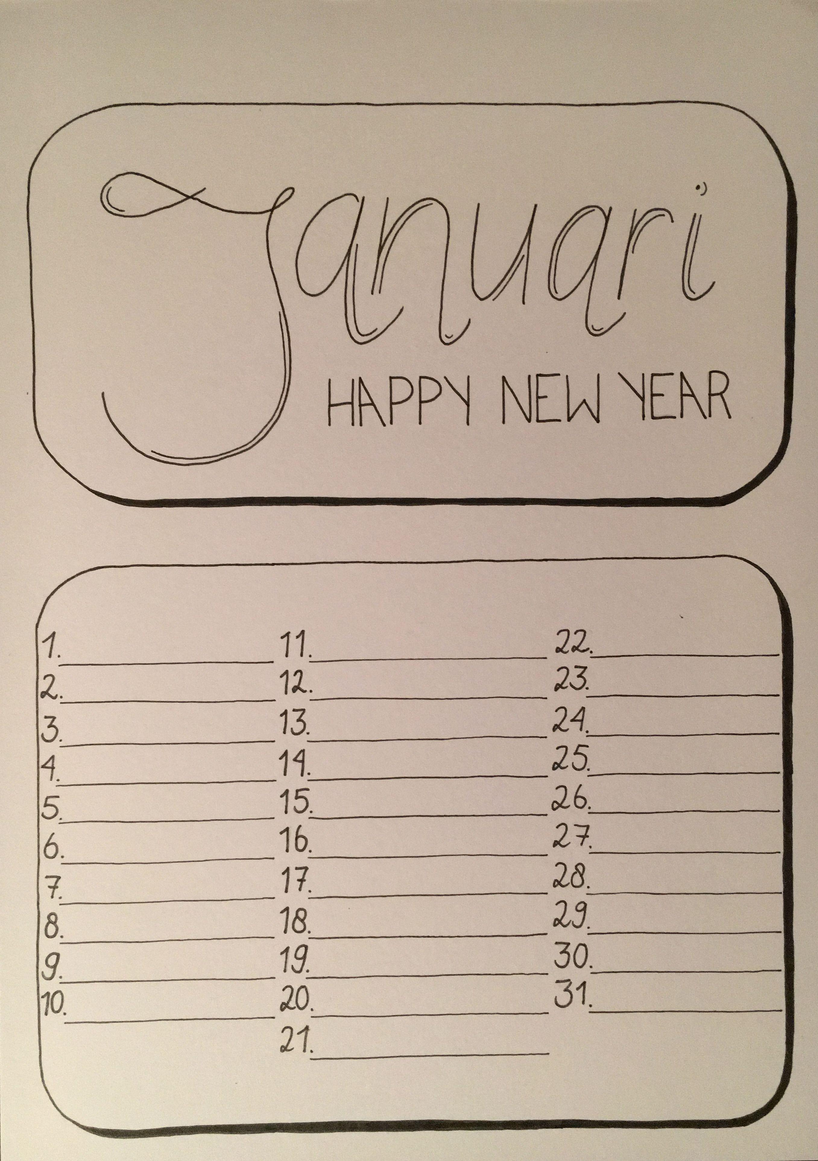 Handlettering Kalender Januari Kalender Ideeen Bullet Journal Ideeen Kalender