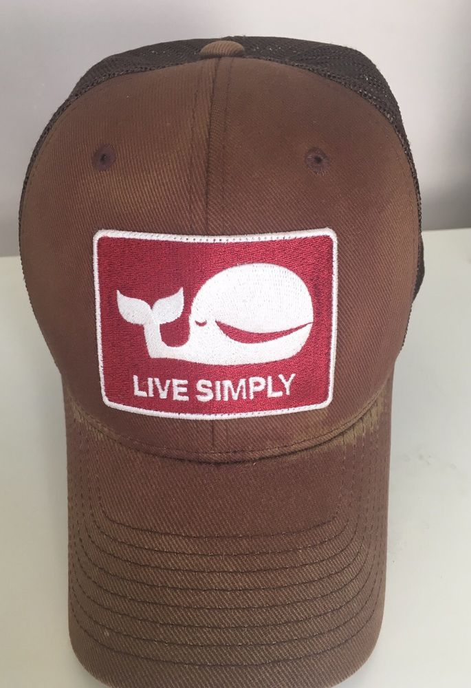 detailed pictures f6e70 f1bd6 RARE Patagonia LIVE SIMPLY Whale Brown Trucker Hat Cap   eBay