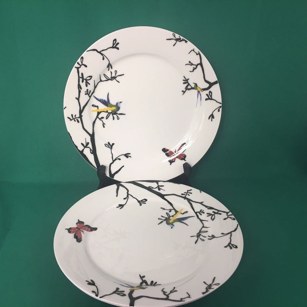 Roscher Bone China Dinner Plates Lot of 3 White Bird Butterfly 10 1/2 Inches & Roscher Bone China Dinner Plates Lot of 3 White Bird Butterfly 10 1 ...