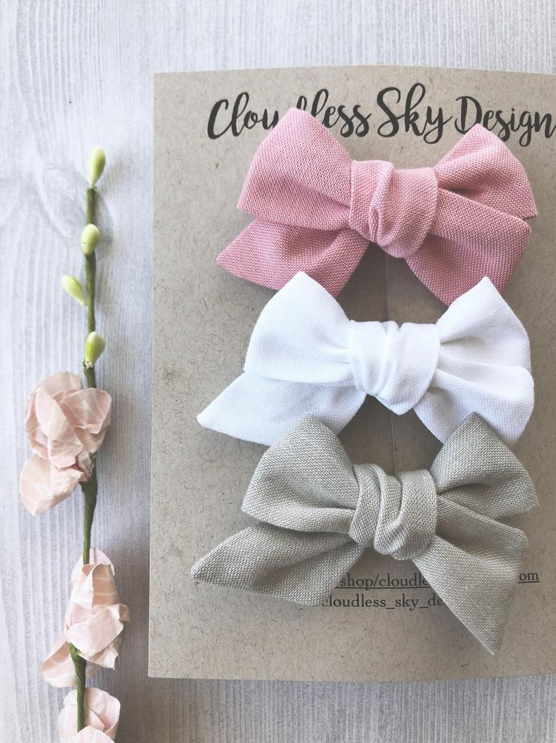 Mini hair bows, baby hair bows, white bow, pink bow, baby headband, hair bows, girls hair bow, toddler bows, bows for girls, bow clip