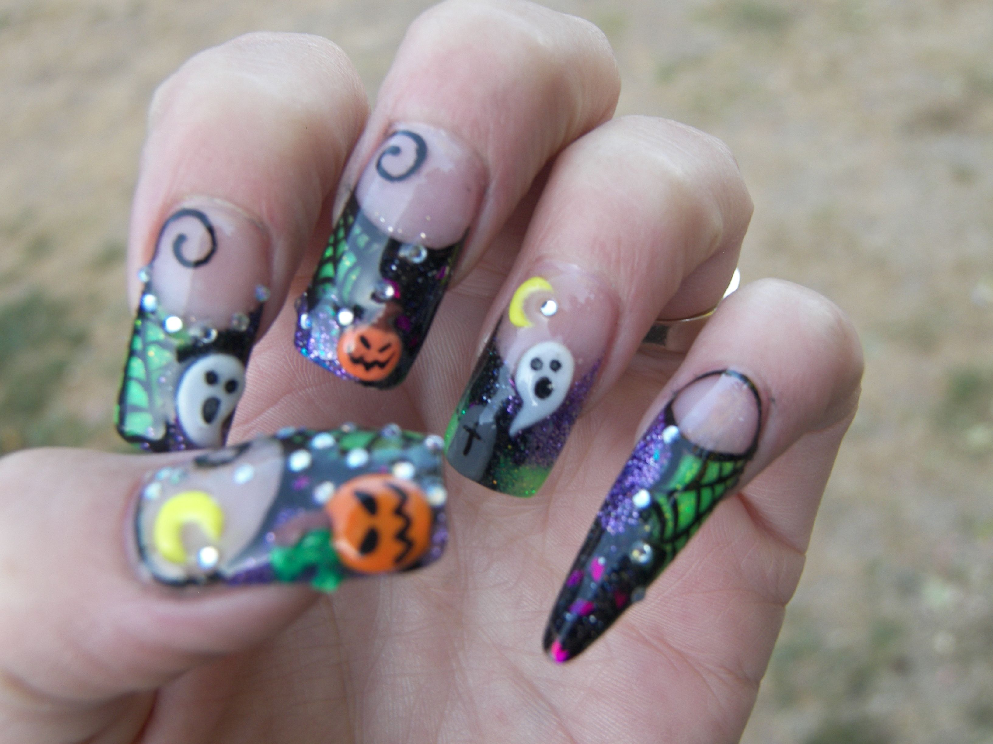 3d nail art |  halloween custom blended acrylic w/ 3d nail art