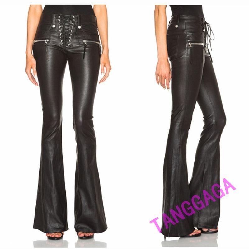 Womens Denim Bootleg Trousers Stretch Skinny Slim Ribbed Bell-bottom Pants Jeans