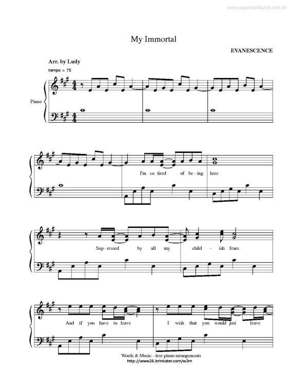 My Imortal Evanescence Partituras Pinterest Evanescence