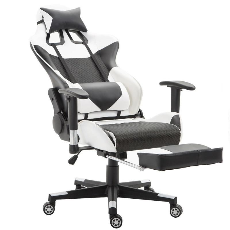 High back gaming chair with lumbar support and foot rest