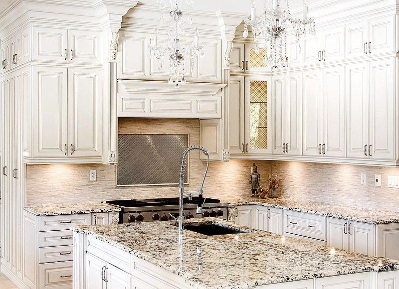 Antique White Kitchen Cabinets, Granite Countertops With White Cabinets