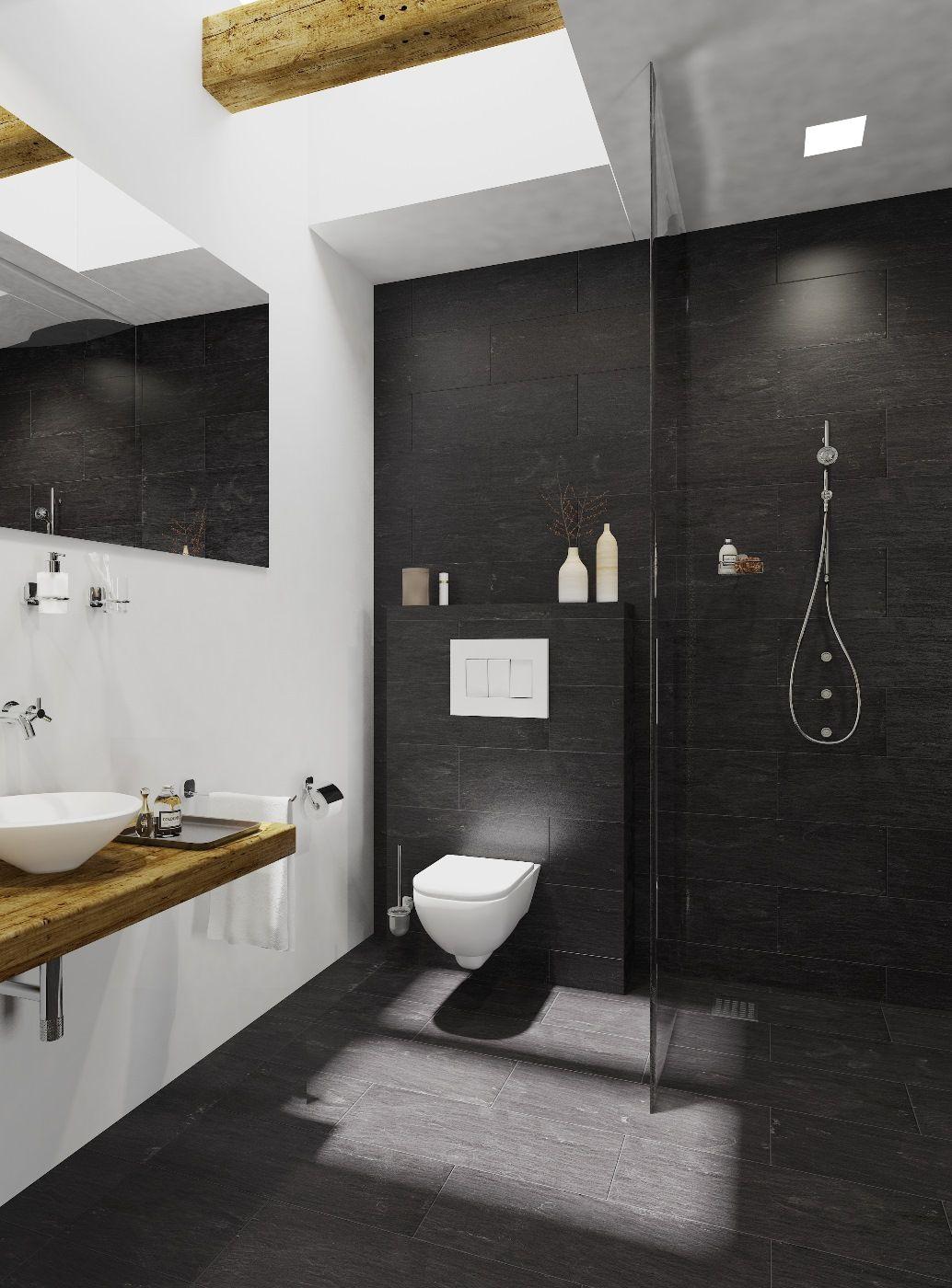 Badkamer antraciet wit interieur met hoog plafond en glazen ...