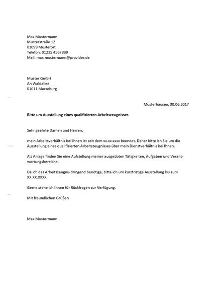 Muster Brief Arbeitszeugnis Im Kundigungsschreiben